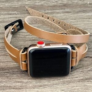 Light Brown Leather Space Black Apple Watch Band